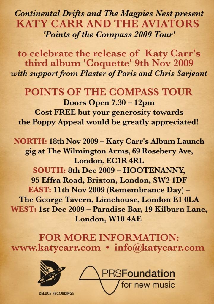 Katy Carr's Nov Dec Tour Dates