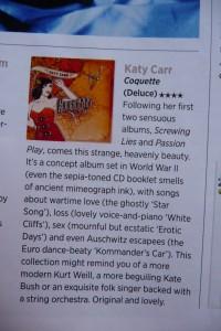 Katy Carr's Album  'Coquette' Nov 2009 Psychologies 4 **** review