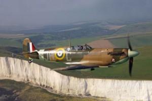 Spitfire flies over White Cliffs