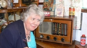 The Pye wireless with Marie Paton whose father owned it
