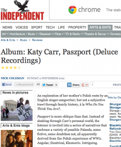 Katy Carr 4/5 star Independent review